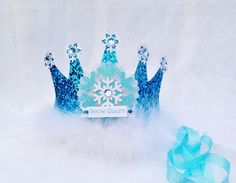 Sparkly Elsa Frozen Birthday Crown Party Hat in Turquoise Aqua and Snowflake White with Feather trim