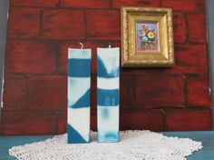 Blue and white soy pillar candles blue and by CandlesbyDeganit, $36.00