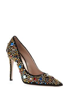 Miu Miu Jeweled Pump available at #Nordstrom ~ SPARKLIES!!  Sparklies run amuk!  I wish these were WAY SHORTER
