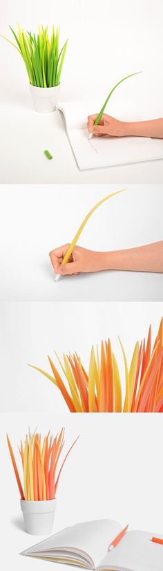 Write with the colors of the breeze! These cute Grass Pens wave as you write! Choses Cool, Office Deco, Got Merchandise, Cute Stationary, Idee Diy, 3d Prints, Cool Inventions, Pen Sets, Cool Gadgets