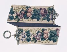 Beautiful needlework vintage Bell Pull with Brass top and end.  From Catherine Shinn.com