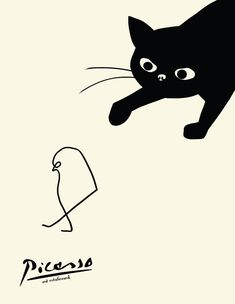 cat cards (pack of 3), picasso cat card, cat stalking bird card, funny cat card, black cat card, pablo picasso, cat bird, blank cat cards