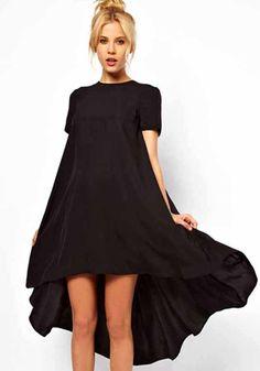 Black Plain Swallowtail Short Sleeve Loose Polyester Dress - High-Low - Dresses