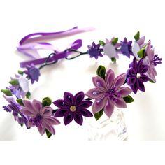 Purple Kanzashi Fabric Flower Wreath. Purple bridal hair by JuLVa ($45) via Polyvore