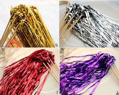 25 Glittery Tinsel Wedding Ribbon Wands with bell by mycookiecan, $25.00