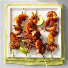 Barbecued Shrimp & Peach Kabobs Recipe -Shrimp grilled with peaches and green onions really sets off fireworks! The spicy seasonings even helped me win a ribbon at a county fair. —Jen Smallwood, Portsmouth, Virginia