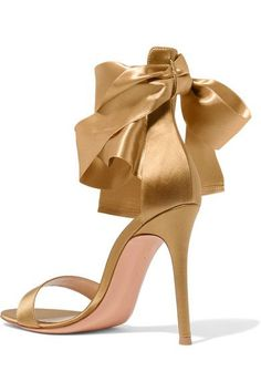 Gianvito Rossi - Satin Sandals - Gold - IT36.5