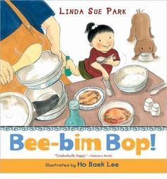 In bouncy rhyming text, a hungry child tells about helping her mother make bee-bim bop: shopping, preparing ingredients, setting the table, and finally sitting down with her family to enjoy a favorite meal. Includes the author's own recipe. Full color.