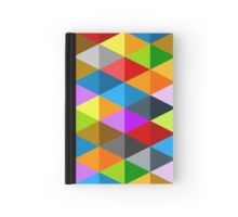 Modern bright funky colorful triangles pattern Hardcover Journal by #PLdesign #geometric #modern #ColorfulTriangles #redbubble