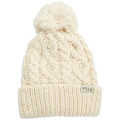 Rella Cuffed Pom Hat ($36) ❤ liked on Polyvore featuring accessories, hats, beanie, winter white, pom pom beanie hat, beanie hats, fleece lined beanie, white winter hat and cable knit hat