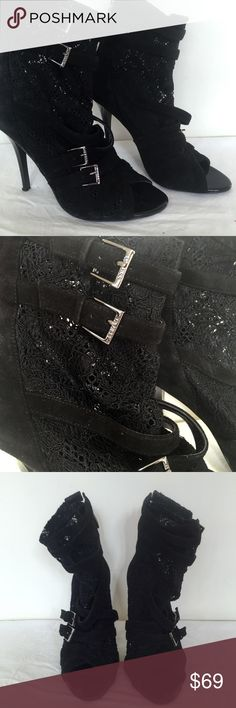 """Guess Black Lace Ankle Buckle Boots 6 Size 6. 3.5"""" Heel. Rare classy! Guess black lace ankle booties with silver buckles. In excellent condition. These are gorgeous and would look great with leggings, skinny jeans or evening dresses!  I have TONS of shoes in my closet! Save 15% and shipping when you bundle!  Tags: heels, shoes, date night, lbd, little black dress, lace up, rocker, rock star, la style Guess Shoes Ankle Boots & Booties"""