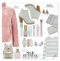 """""""Puffer Jacket"""" by dgia ❤ liked on Polyvore featuring Topshop, Acne Studios, Juvia, SUQQU, Drybar, Radical Skincare, Jessica Carlyle, MCM, Vera Bradley and Current/Elliott"""