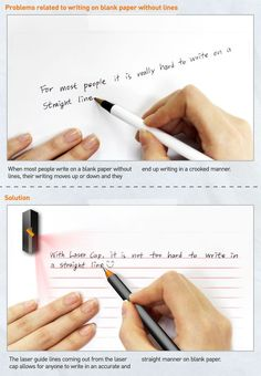This cool gadget helps you write in a straight line by using lasers to guide you.: