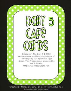 Pink and Green Owl Daily Five CAFE Strategy Cards