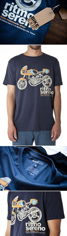 Bike EXIF launches an exclusive range of motorcycle t-shirts featuring three of the world's top custom motorcycle builders—like Ritmo Sereno, shown here. $29.99. See all the tees at http://www.bikeexif.com/motorcycle-t-shirts