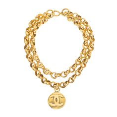 CHANEL DOUBLE CHAIN CC NECKLACE ❤ liked on Polyvore