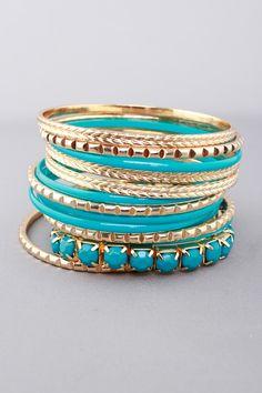 Turquoise Enamel and Gold Bracelets