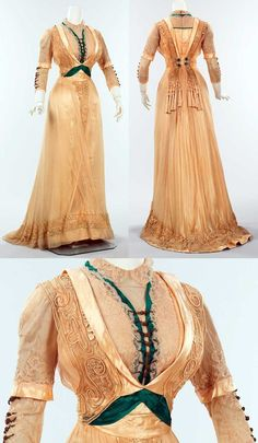 via FB House of PoLeigh Naise Silk dress, 1909-1911, by Mrs. Dunstan, a well-known New York dressmaker. This high-style dress is a particularly good example of her work and exhibits some of the typical techniques used in that period, such as the bolero-and-vestee configuration of bodice and over-the-shoulder panels.