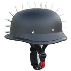 German Motorcycle half Helmet Novelty spikes 118 Flat Bk