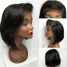 Short Deep Side Bang Straight Bob Lace Front Synthetic Wig - Black Mobile