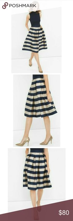 WHBM Midi Striped Taffeta Skirt Navy White House Striped Taffeta Midi Skirt  Navy and Gold stripes and polished pleats make this taffeta midi skirt the centerpiece of any outfit. Paired with pumps and a sleek top, it embodies refined and modern style all at once. White House Black Market Skirts