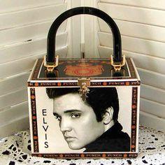 Unique ELVIS PRESLEY Altered Cigar Box PURSE Young Elvis Pics by gmPurseanalities