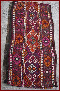 Kurdish wool embroidered kilim horse cover