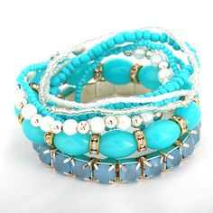 Rhinestone Ladies Exquisite Alloy Multilayer Blue Bracelets