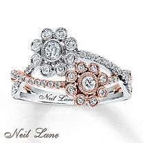 ½ ct tw Diamond Ring Round-Cut 14K White & Rose Gold - Kay Jewelers - just the rose gold would be gorgeous