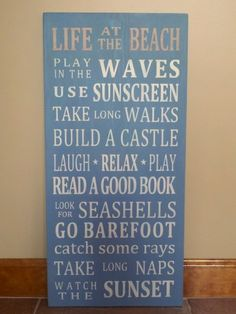 Life At The Beach Word Art Wood Sign
