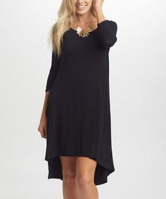 Another great find on #zulily! Black Three-Quarter Sleeve Hi-Low Dress…