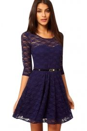 Charming Lace Lining Three Quarter Sleeve Belted Dress