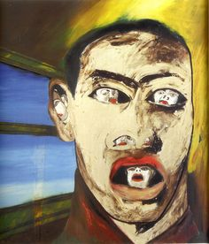 Francesco Clemente, Name : Neo-Expressionism, less critical and market-oriented; parodies Modernist notion of 'stylistic development' (although unintentionally~? Bad Painting, Jonathan Borofsky, Sandro Chia, Tachisme, Collage, Italian Artist, Jean Michel Basquiat, Postmodernism, Conceptual Art