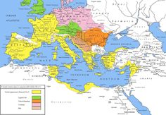 A map of the Roman Empire during the reign of Augustus 27 BCE - 14 CE. Yellow areas indicate the empire prior to Augustus' reign, green areas those gained subsequently, violet areas are client states of Rome. Ancient Rome, Ancient History, Ancient Aliens, Ancient Greece, Ancient Map, Battle Of Alesia, Roman Empire Map, Pax Romana, Rome Antique