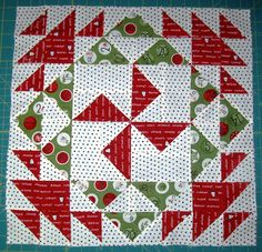 I am so loving this quilt!!  I have named it Spinning orSpiraling. It looks great in Christmas fabrics but it would also look great in ab...