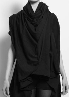 Oversized black scarf + tank