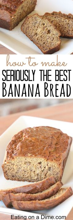 Banana Bread Seriously the Best Banana Bread recipe ever! You just have to try this super Moist Banana Bread Recipe - it is our family's favoriteSeriously the Best Banana Bread recipe ever! You just have to try this super Moist Banana Bread Recipe - it is Super Moist Banana Bread, Homemade Banana Bread, Make Banana Bread, Simple Banana Bread, Homemade Breads, Easy Bread Recipes, Banana Bread Recipes, Sweet Recipes, Cooking Recipes