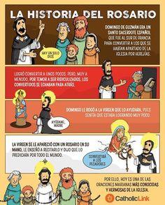 Cuenta la tradición que la Virgen le pidió a Santo Domingo de Guzmán que llevara el rezo del Rosario a todo el mundo. ¿Conocías la historia del Rosario? Te la contamos en esta sencilla infografía 🙏🌹 #MesDelRosario