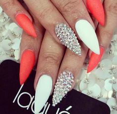 Coral white and silver stud stiletto nails