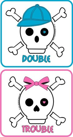 Double Trouble Skull and Cross Bones shirts, onesies, baby tees for boy and girl twins Twin Quotes, Boy Quotes, Twin Mom, Twin Babies, Boy Girl Twins, Boy Or Girl, Twin Peeks, Skull And Crossbones, My Cousin