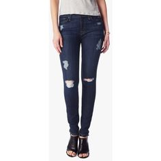 7 For All Mankind The Skinny In Nouveau New York Dark Destroyed ($119) ❤ liked on Polyvore featuring jeans, denim, pants, dark blue skinny jeans, destroyed skinny jeans, skinny jeans, ankle length skinny jeans and destroyed jeans