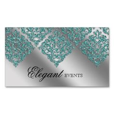 12 best event planner business cards images on pinterest business wedding event planner damask sparkle silver teal business card friedricerecipe Choice Image