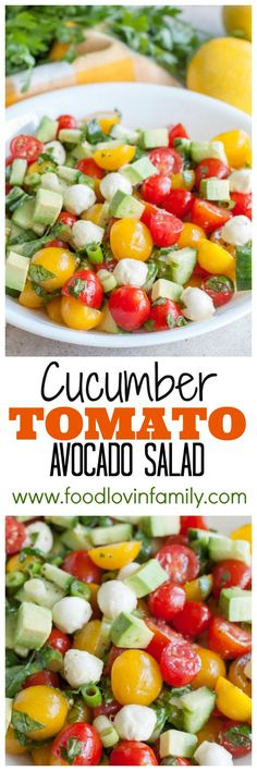 Cucumber Tomato Avocado Salad, a colorful and delicious salad filled with tomatoes, mozzarella cheese, avocado, herbs and lemon dressing. #ad #BJsSmartSaver