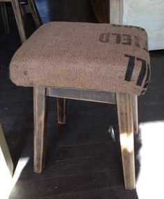 Small stools with hessian tops.