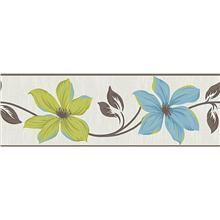Lily Teal & Lime Peel and Stick Border Wall Applique wallpops.com