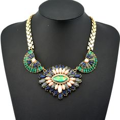 2014 Brand Luxury Jewelry Fashion Exaggerated Resin Rhinestone Crystal Multicolor Flower Pendant Statement Charm Necklace