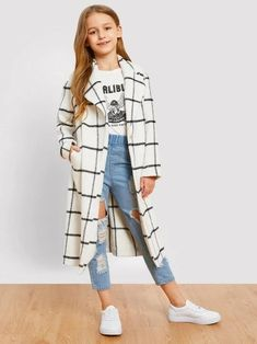 To find out about the Girls Single Button Grid Print Longline Coat at SHEIN, part of our latest Girls Jackets & Coats ready to shop online today! Girls Fashion Clothes, Kids Outfits Girls, Cute Girl Outfits, Tween Fashion, Teen Fashion Outfits, Cute Casual Outfits, Stylish Outfits, Tween Clothes For Girls, Kids Girls