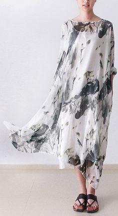 2016 fall flowy silk dress long chiffon dresses plus size maxi dress two pieces