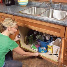 How to Build Kitchen Sink Storage Trays Kitchen Cabinet Storage Solutions: DIY Pull Out Shelves - Cheap Kitchen Cabinets Tips Kitchen Sink Storage, Bathroom Drawer Organization, Kitchen Base Cabinets, Bathroom Drawers, Under Sink Storage, Storage Cabinets, Extra Storage, Kitchen Sinks, Diy Pull Out Shelves