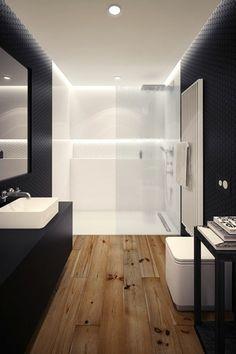 salle de bain en blanc, noir et sol en parquet clair en bois